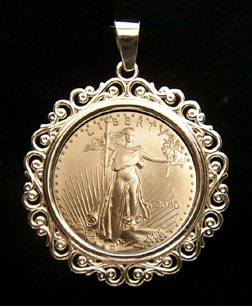 Solid 14k Yellow Gold 1 4 Oz American Eagle Coin Bezel Chain Necklace